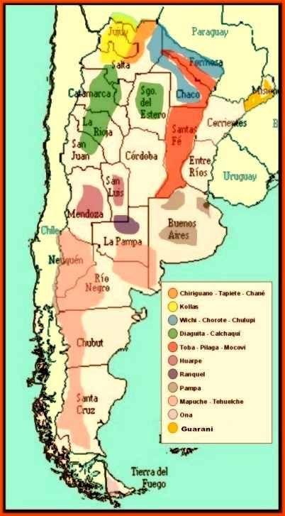 Mapa de las Comunidades Aborigenes, existentes, en la Republica Argentina | Map of Existing Indigenous Communities in Argentina