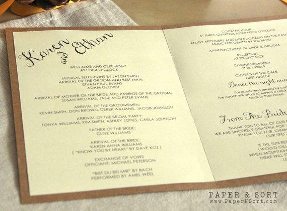 Vintage Rustic Wedding Program Pamphlet Order of Service by PaperNSort