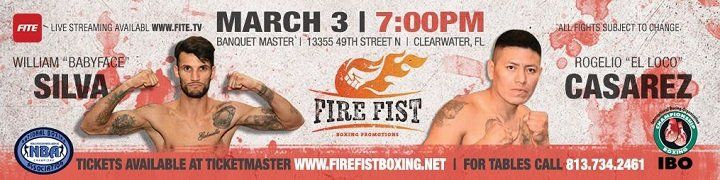 William Silva headlines March 3 in Clearwater, FL #Latest #RogelioCasarez #allthebelts #boxing