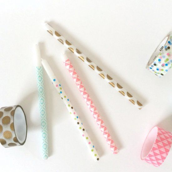 Super cute and quick craft. All you need is tall birthday candles and washi tape to make unique birthday candles.