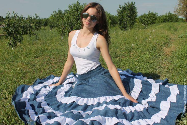 """Купить Длинная стройнящая джинсовая бохо- юбка """"АМИНЭ"""" - синий, юбка в пол, летняя мода"""