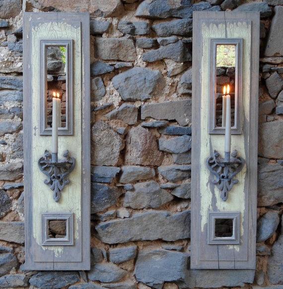 Provençale shutter panel mirror sconce
