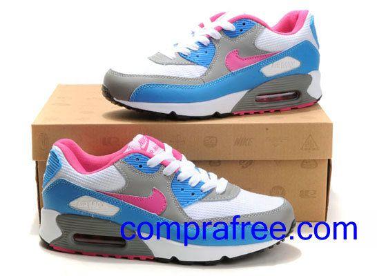 Comprar baratos mujer Nike Air Max 90 Zapatillas (color:blanco,azul,rosa,negro) en linea en Espana.