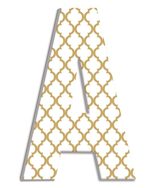Gold Lattice Wood Initial