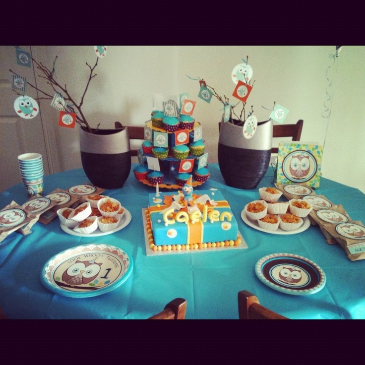 Owl themed table with owl party plates cups etc
