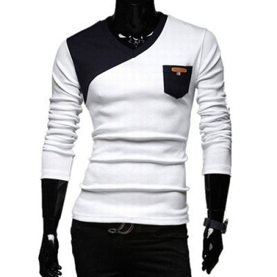 Material: Cotton, Polyester, Faux Leather  Sleeve Length: Full  Collar: V-Neck  Style: Fashion  Weight: 0.24KG  Package Contents: 1 x T-Shirt  Pattern Type: Patchwork