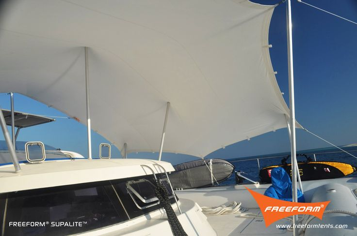Our yacht canopies can handle even the toughest winds while providing some much-needed shade at sea. #Boating #Design