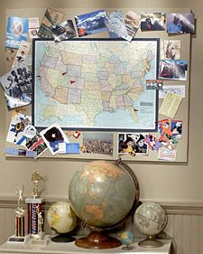 An easy way to display travel memento's. I would use a map of the world instead.