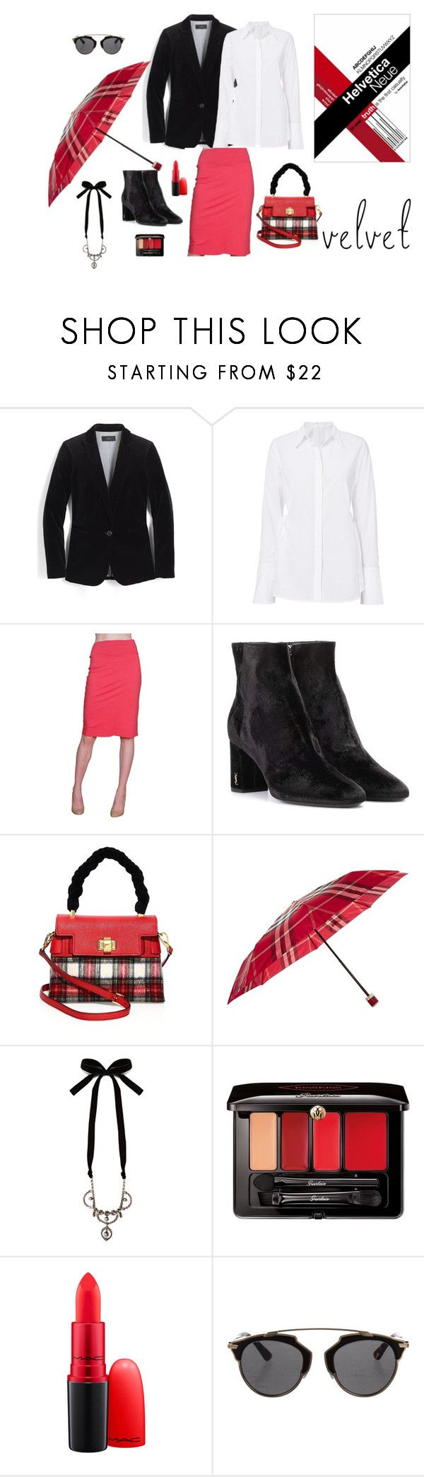 """""""Something red"""" by fernandaalmeida-1 on Polyvore featuring J.Crew, Velvet by Graham & Spencer, Yves Saint Laurent, Miu Miu, Burberry, Guerlain and Christian Dior"""