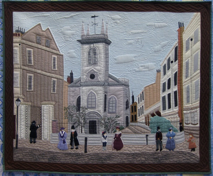 'St.Olaves' 1880's  a church that still remains in the heart of London. I made this quilted wall hanging after having cancer in 1994, it is completely hand appliqued hand embroidered and hand quilted. It was made from an etching I found, and with scrap bag bits of fabric. I think of this wallhanging as a reminder and a way of getting well again and recovering from an awful illness.