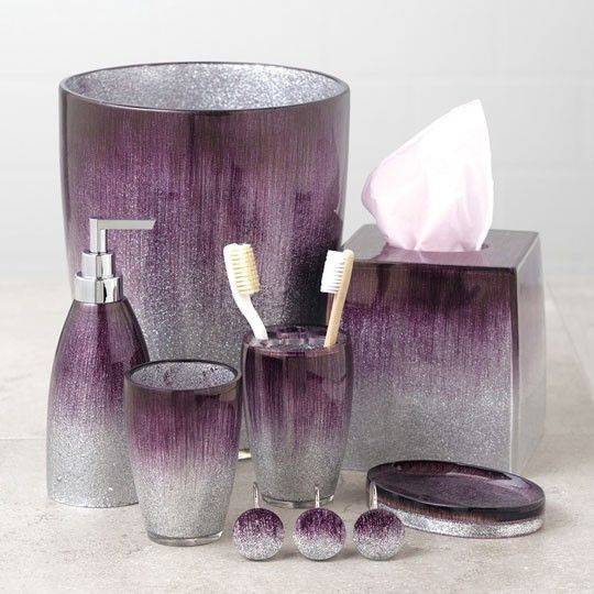 Stardust purple bath collection soap dispenser tissue box for Grey and purple bathroom ideas