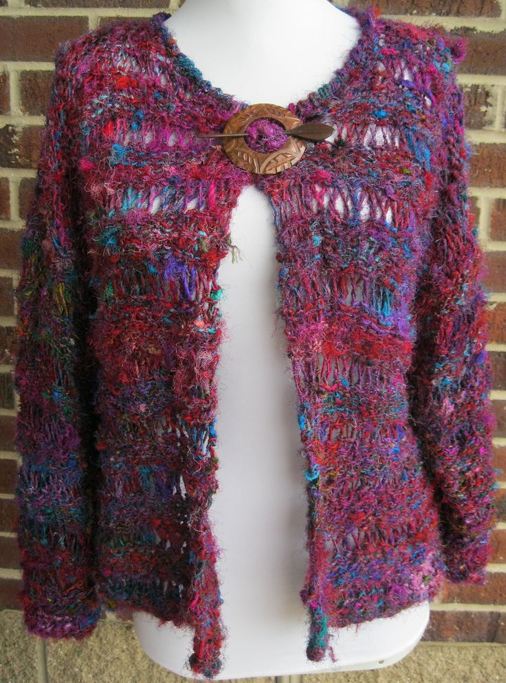 I'm just finishing this jacket knit with yarn recycled from silk sari's.