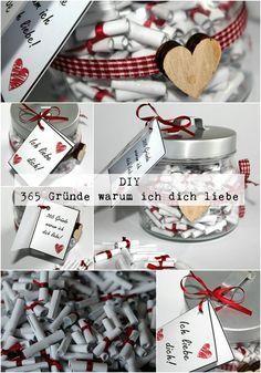 DIY 365 Gründe warum ich dich liebe + Anleitung. DIY, Basteln, Selbermachen. Geschenke, Geschenkideen, Adventskalender, Liebesgeschenke, Jahrestag...