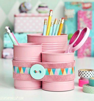 Cute table organizer from tin cans // Asztali rendszerező (ceruzatartó) konzervdobozokból // Mindy - craft & DIY tutorial collection
