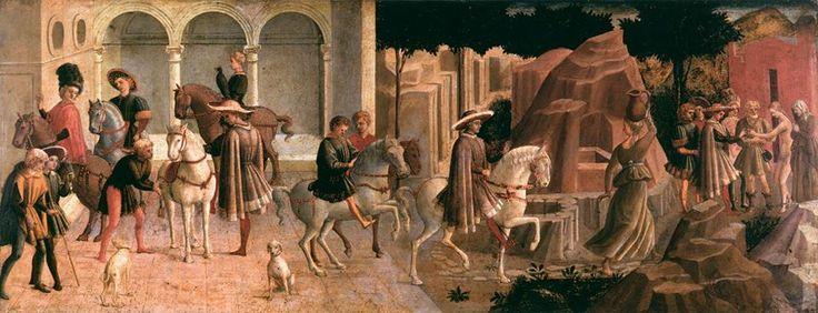 Pesellino, Storia di Griselda (1455-1457 circa). Questo dipinto decorava un cassone nuziale e rappresenta una novella del Decameron. Leggi la spiegazione completa dell'opera: http://www.finestresullarte.info/operadelgiorno/2014/239-pesellino-storie-di-griselda.php