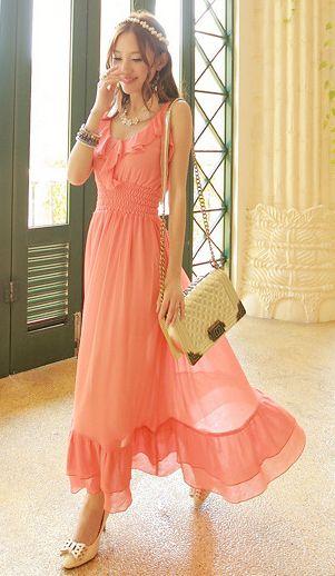 Cute Cheap Flounced bohemian beach dress orange - Beach Dresses Online Shopping Free Shipping AHAI014844
