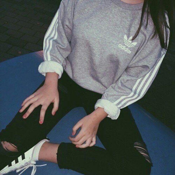 cool adidas, aesthetics, dark, girl, grunge