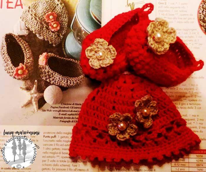Creazione in lana merinosCuffietta e ballerine per una bebè romantica https://iliveintuscanyistantidiluciamarconcini.com/2017/01/23/cuffietta-e-ballerine-per-una-bebe-romantica/ #knit #tricot