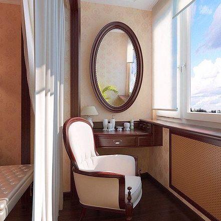 Туалетный столик с креслом и зеркалом на балконе. http://www.mebelok.com/