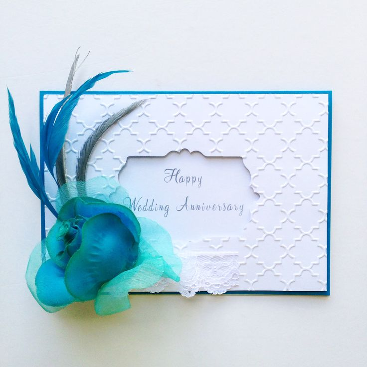 Wedding Anniversary card with blue rose! Made by Pammypumpkin using Sizzix Big Shot machine! #sizzix