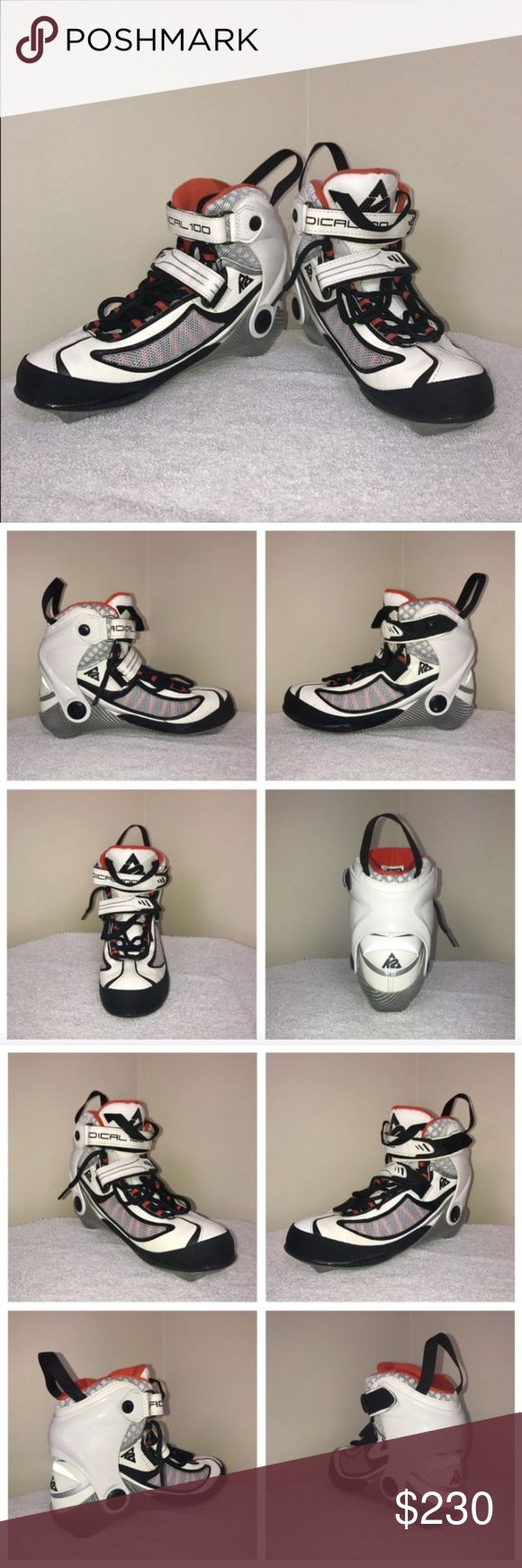 K2 Radical 100 Marathon Inline Speed Skates Sz 7.5 Radical 100 W Inline Skate size 7.5 US women. Wheels are not included.   The Radical 100 W is viewed as the model that has defined what advanced, to expert big-wheeled inline skates are supposed to be; light-weight, fast and stable. The Radical has earned its excellent dampening and light weight properties thanks to its fiberglass base.   Lacing: Traditional Skate Cuff: Radical Colors: White Silver Orange Size: 7.5 US Women Retail: $450…