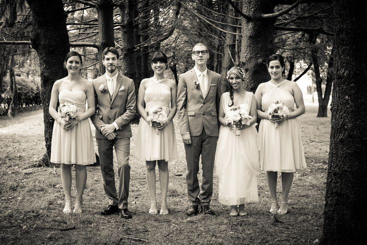 Black and white bridal party portrait In the woods Jenica+Josh Photo By Sherry Sutton Photography