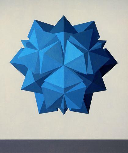 The polyhedron M2 (opus CCLXIII ) 1985 oil on canvas,130X110 cm.Foundation Collection Saffaro,Bologna .