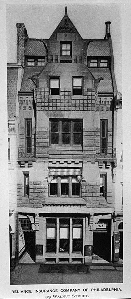 English: Reliance Insurance Company of Philadelphia (1881-82), 429 Walnut Street, Philadelphia, PA, by Furness & Evans, architects. Photograph from George W. Engelhart