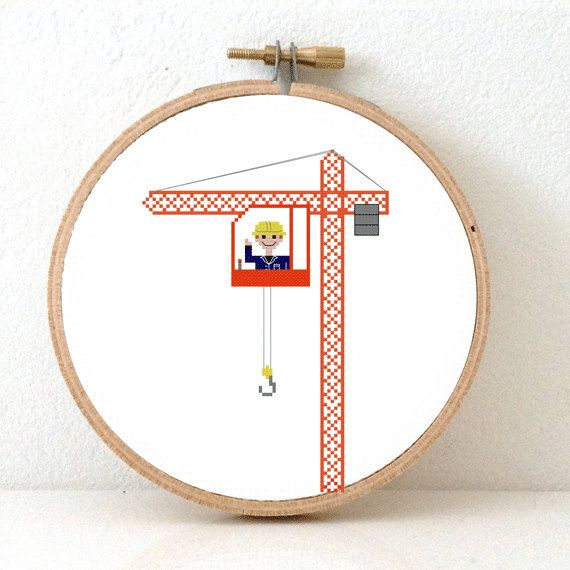CRANE OPERATOR Cross stitch pattern. Gift for boy. por Koekoek