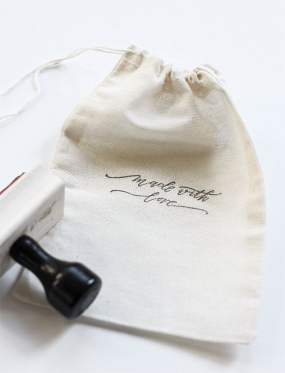 Made with love modern calligraphy hand stamp by BesottedBrand,