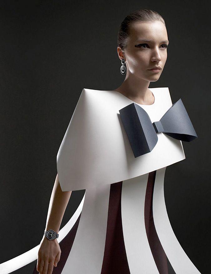 Wearable Art - paper dress with exaggerated 3D shapes - sculptural fashion design; alternative materials // Ilya Plotnikov x Alexandra Zaharova