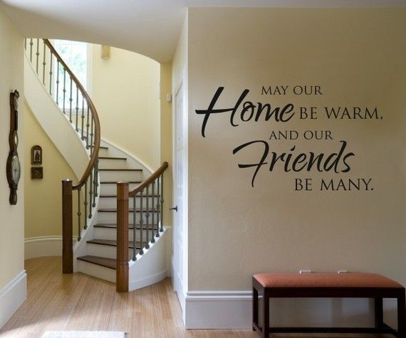 """Whimsical Wall Stickers - May our home (Decal), $9.95 (http://www.whimsicalwallstickers.com.au/may-our-home/)  This quote would be perfect on your wall or the wall of a friend: """"May our home be warm and our friends be many.""""    Contents:  sticker parts and transfer paper  Size: installed size: 66 cm x 40 cm (estimated)   Material: Vinyl"""