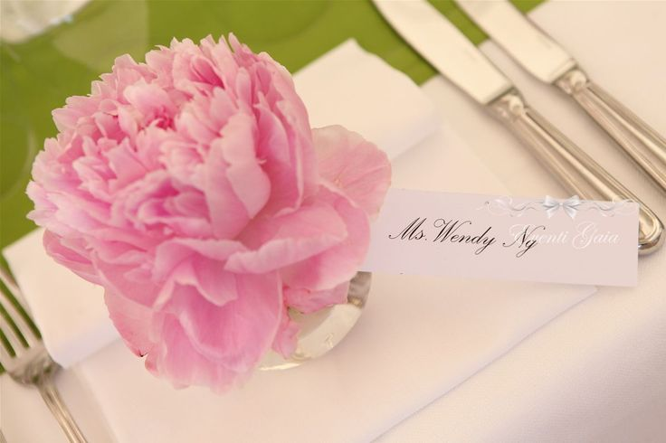Pink Peonies as place cards