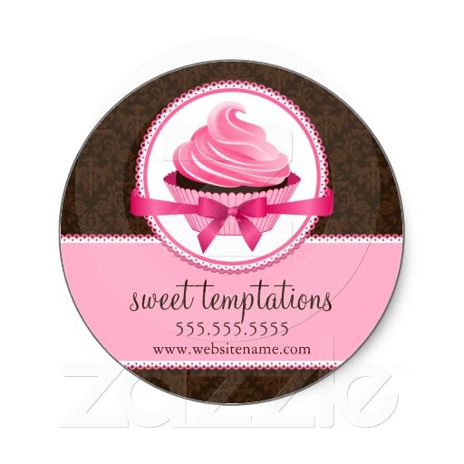 Couture cupcake bakery box seals bakery businessround stickersstickers