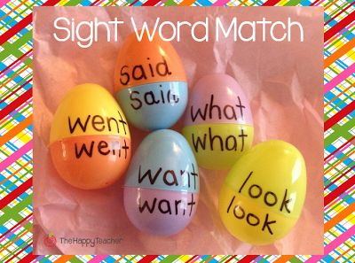 Fun & educational Easter egg activities! Sight Word match: Mix up the colors to make it a bit more challenging! :)