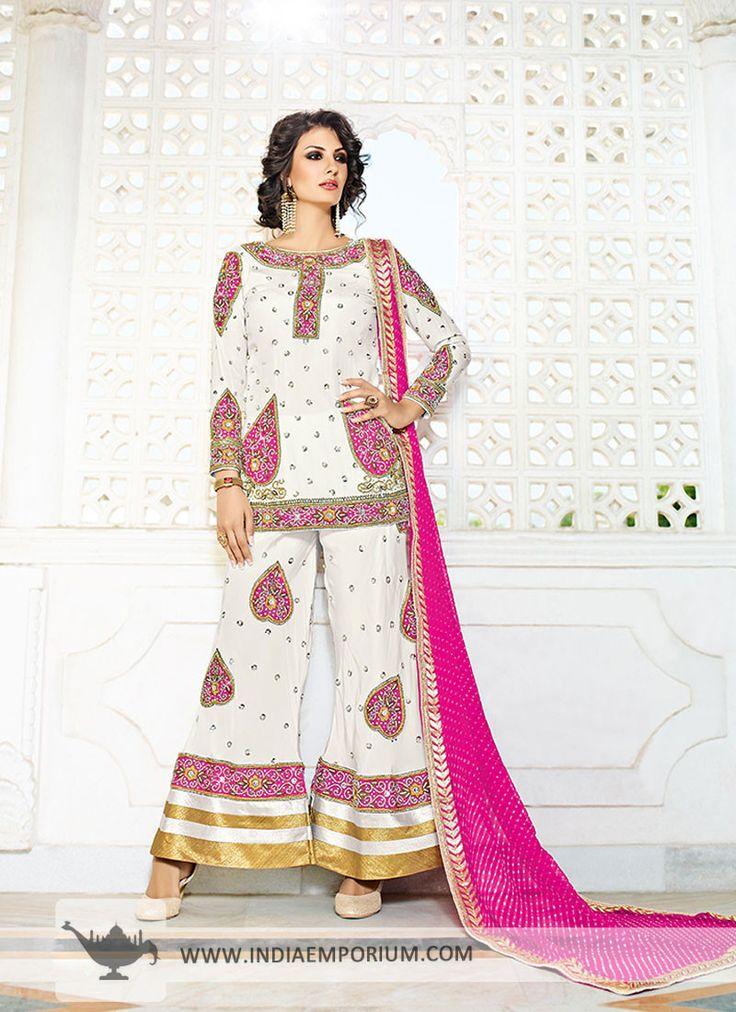 Alluring Pakistani Style Short Kameez with Palazzo Pant Zardosi Work
