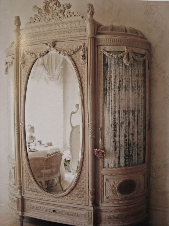 beautiful old French amoire that I would keep in the powder room to store supplies in!