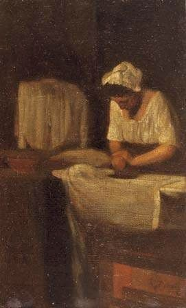 Francois Bonvin (French Realist Painter, 1817-1887) A Woman Ironing The Laundress
