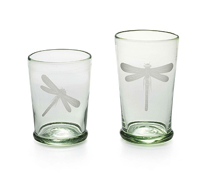 """Mariposa Tuscan Garden Dragonfly Glassware. Mariposa's signature dragonfly lands on a highball glass and DOF. Crafted from recycled bottle glass, all enjoying a Mediterranean breeze. Highball glass is 5""""H-12 oz. DOF is 4.5""""H-10 oz. Made in Mexico"""