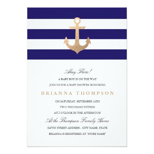 Nautical Navy Baby Shower 5x7 Paper Invitation Card