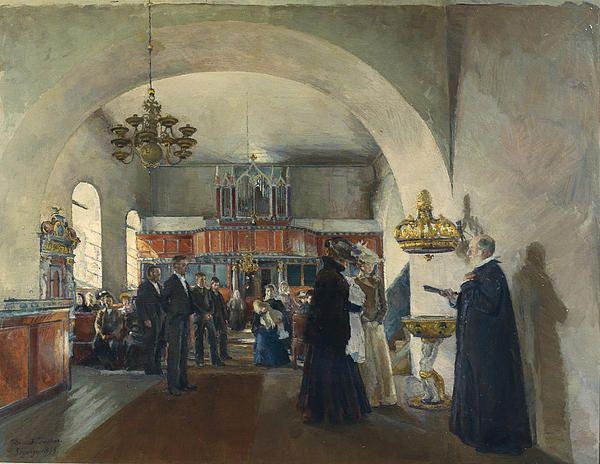 Christening In Stange Church by Harriet Backer