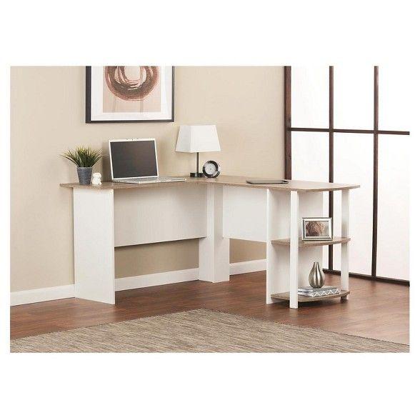 Room Joy Fieldstone L Shaped Desk With Bookshelves Bookshelf Desk L Shaped Desk L Shaped Office Desk