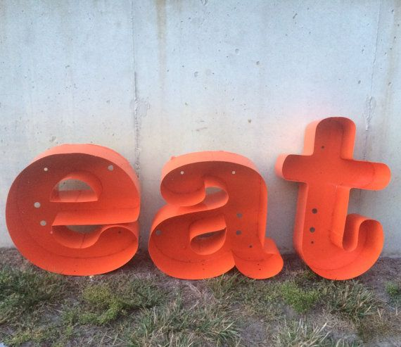 Reclaimed refurbished Large metal letters EAT by LivingReclaimed