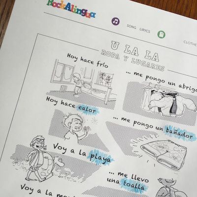 Circling specific words in a song is a good reading activity using Spanish song lyrics.
