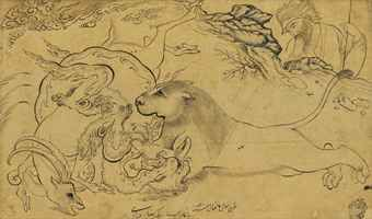 AN ANIMAL COMBAT SCENE WITH ATTRIBUTION TO REZA-I 'ABBASI, SAFAVID IRAN, DATED 1 SHAWWAL AH 1041/21 APRIL 1632 AD Pen and ink on paper, a dragon coiled around a gazelle is engaged in fierce combat with a pouncing lion, from the rocky outcrop beyond them a single figure looks on, with later attribution to Reza-i 'Abbasi and date of Shawwal 1061 along the lower edge, later owner's stamp in the lower right hand corner, laid down between pink borders on brown card and white paper Drawing 5 x…
