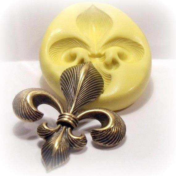 large fleur de lis silicone push mold / craft/ by moldsrus on Etsy, $8.99