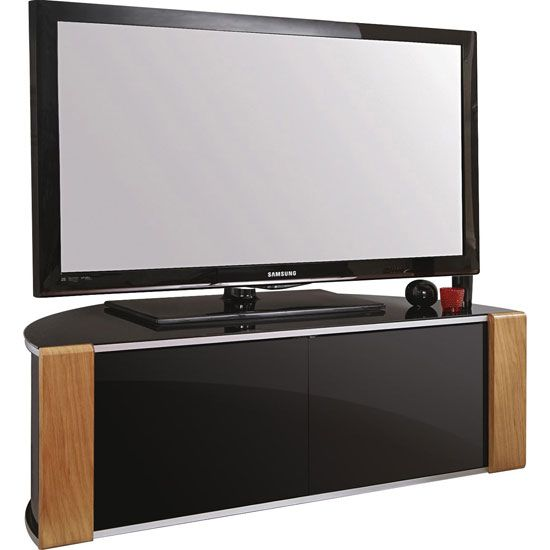 Sinter Corner LCD TV Stand Wide In High Gloss Piano Black - Glass TV Stands, Modern, Black, Mount, Furnitureinfashion UK
