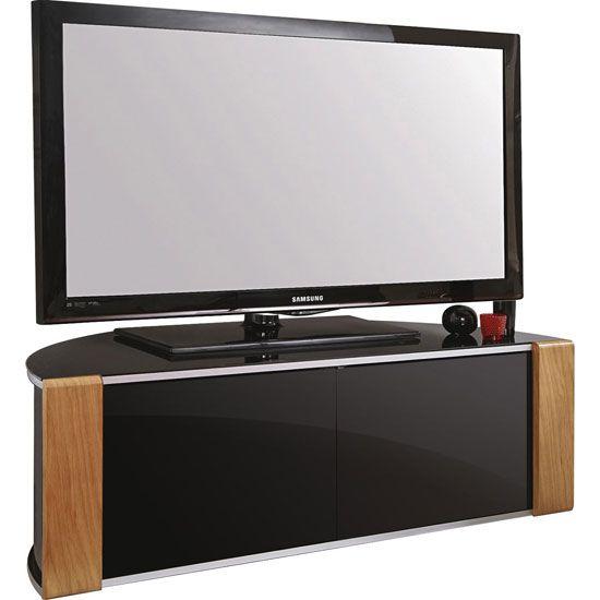Sinter Corner LCD TV Stand Wide In High Gloss Piano Black - Glass TV Stands, Modern, Black, Mount, Furnitureinfashion UK