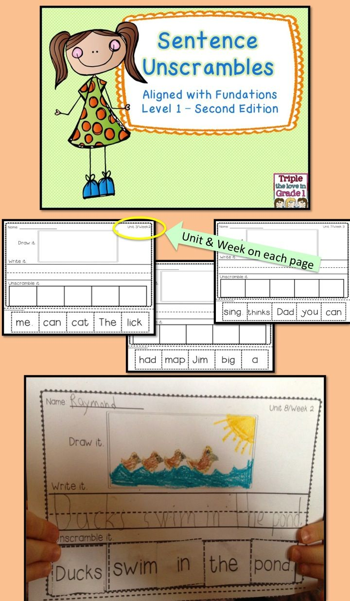 This HUGE resource includes 5 sentence unscrambles for each of the FUNDATIONS Level 1 (FIRST GRADE) Second Edition units.  All 14 units are included in this download.