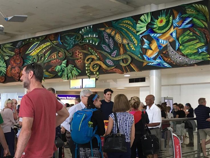 "DEBBIE SHEEZEL Revisiting my enamel mural in the ""arrivals hall"" of Brisbane International Airport #enamel#mural #uniqueartwork#goldand silversmiths guildofaustralia#copper#silver#rainforrest#daintreeforest #florafauna#emaille"